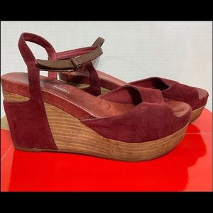 ANTELOPE RED SUEDE LEATHER WEDGE SANDAL 7
